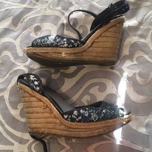 G by Guess Black Silver Sequin Wedges